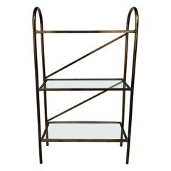 Small Narrow Mid-Century Modern Brass and Glass Shelves Bathroom Rack Shelf