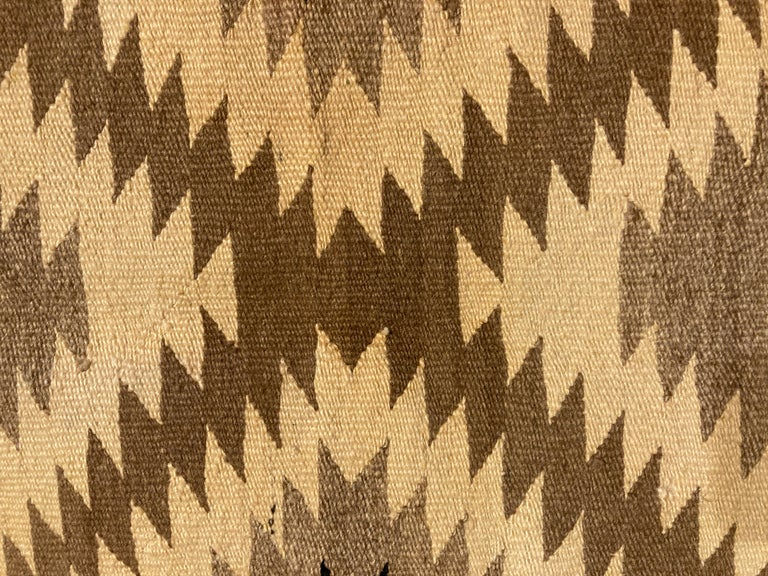 Hand-Woven Small Navajo Rug in Earthtone Colors For Sale