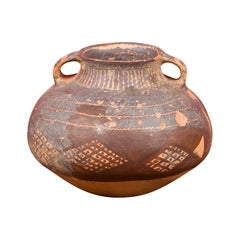 Small Neolithic Terracotta Pitcher with Brown Geometric Décor and Double Handles