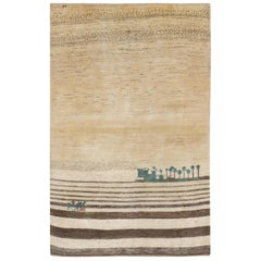 Small Neutral Contemporary Tribal Landscape Gabbeh Persian Wool Rug