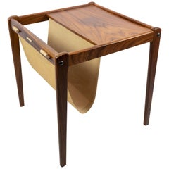 Small Newspaper Holder/Lamp Table i Rosewood of Danish Design from the 1960s