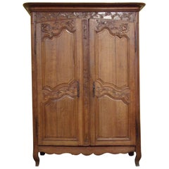 Small Normandy Carved Marriage Armoire, circa 1800