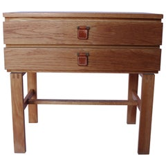 Small Oak Chest of Drawers with Leather Handles by Fröseke Nybrofabrik, 1960s
