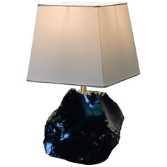 Small Obsidienne Lamp with Custom Square Shade