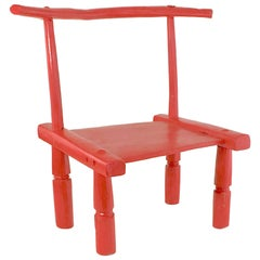 Small Old African Baolé Red Painted Meditation Chair in Solid Hand-Carved Wood
