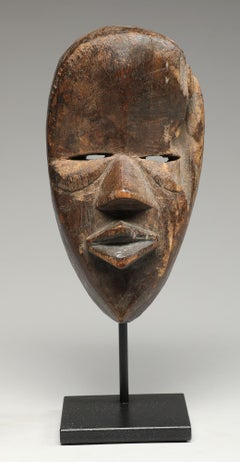 Small Old Dan Mask Blessed by Age Eroded Side, Cubist Face Liberia, Africa