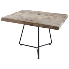 Small Old Elm Table with Iron Structure, Made in Italy