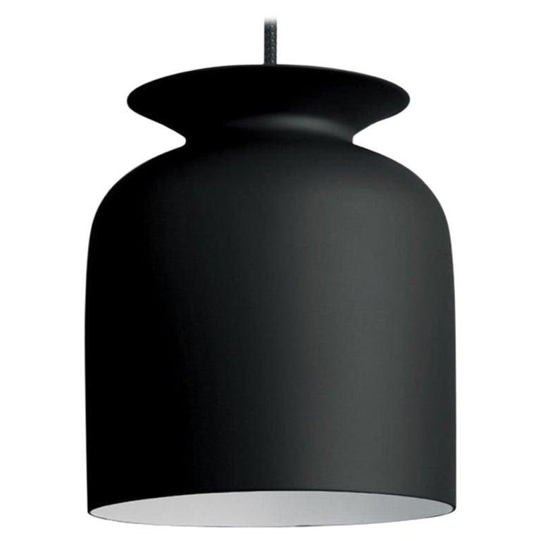 Small Oliver Schick Ronde Pendant in Matte Black for Gubi For Sale