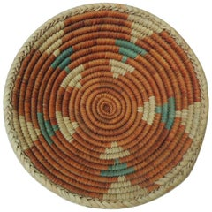 Small Orange and Green Round Tribal Decorative Basket or Bowl