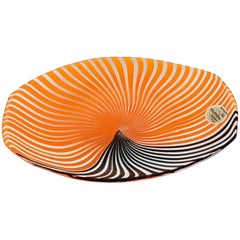 Small Orange Brown Murano 1960s Glass Plate by Gian Maria Potenza for La Murrina