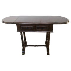 Small Original 1900 Italian Walnut Coffee Table with Flaps and Two Drawers