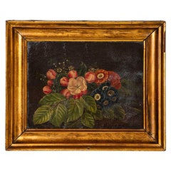 Small Original Oil on Canvas Painting of Still Life with Flowers