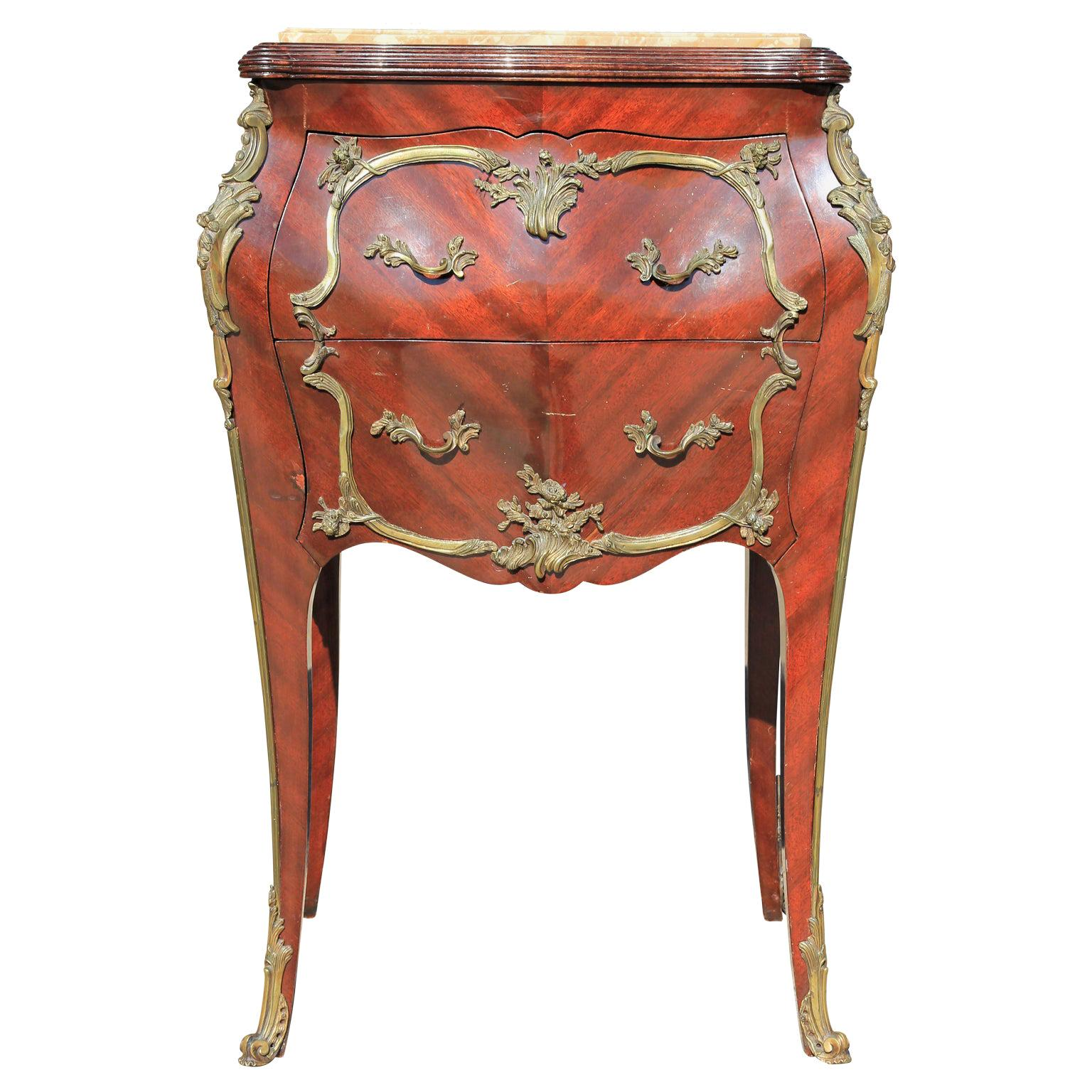 Small Ornate Ormolu Mounted French Louis XVI Style Bombé Commode or Chest