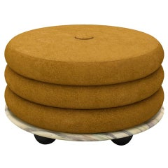 Small Ottoman by Moniomi, in Green Marble & Gold Mohair