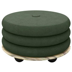Small Ottoman by Moniomi, in Green Marble & Green Mohair
