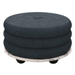 Small Ottoman by MONIOMI, in Lilac Marble & Teal Mohair
