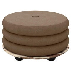 Small Ottoman by Moniomi, in Marble & Taupe Mohair