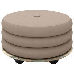 Small Ottoman by Moniomi, in Mint Marble & Beige Mohair