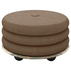 Small Ottoman by MONIOMI, in Mint Marble & Taupe Mohair