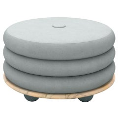 Small Ottoman by Moniomi, in Pink Marble & Blue Mohair