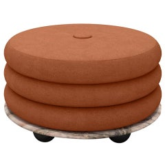 Small Ottoman by MONIOMI, in Pink Onyx & Blush Mohair