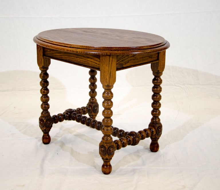 Small Oval Antique Oak Occasional Table Or Plant Stand For