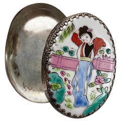 Small Oval Chinoiserie Painted Ceramic and Metal Trinket Box with Mirror Lid