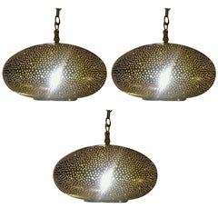 Small Oval Gold Brass Modern Pendant Chandeliers, Set of Three