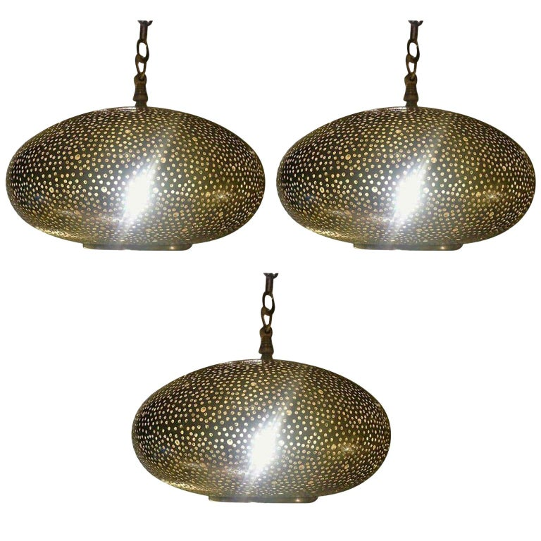 Small Oval Gold Brass Modern Pendant Chandeliers, Set of Three For Sale