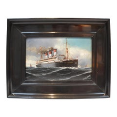 Small Paining of the German Steamship Cap Trafalgar Sunk off Trinidad in 1914