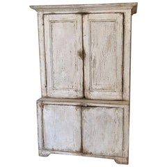 Small Painted Primitive Cupboard, 19th Century