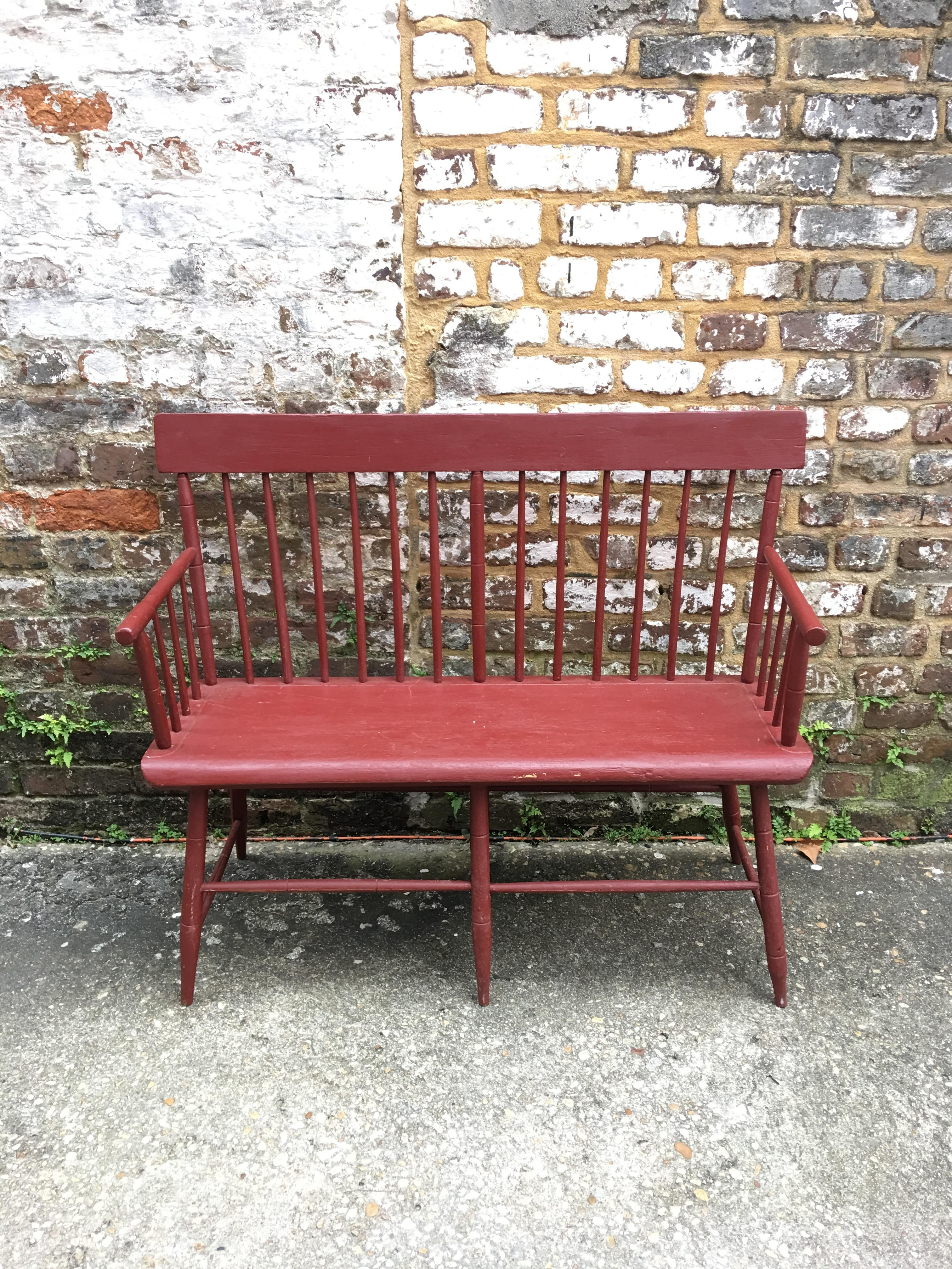 Surprising Small Painted Windsor Bench Circa 1830 Andrewgaddart Wooden Chair Designs For Living Room Andrewgaddartcom