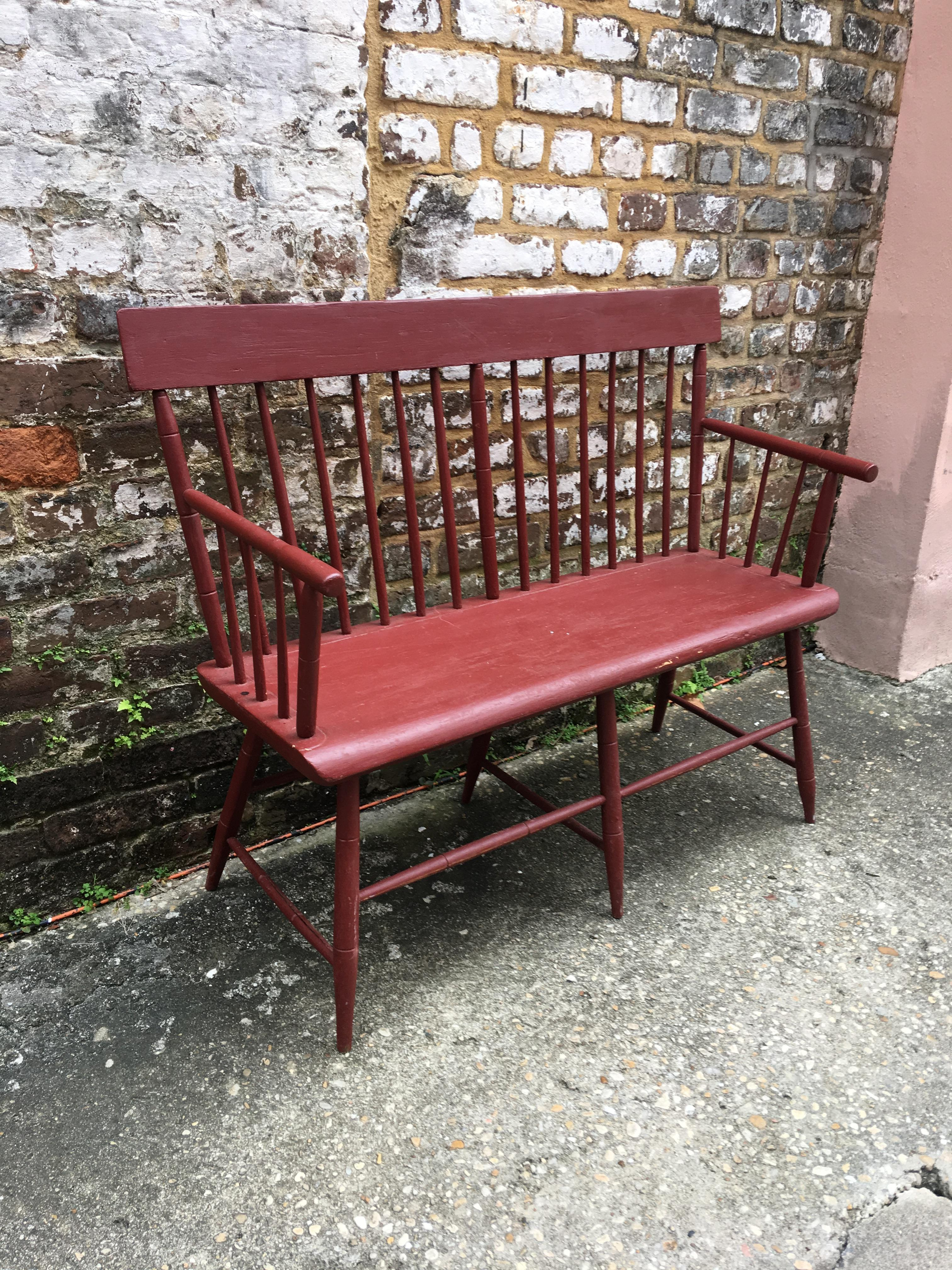Awesome Small Painted Windsor Bench Circa 1830 Andrewgaddart Wooden Chair Designs For Living Room Andrewgaddartcom
