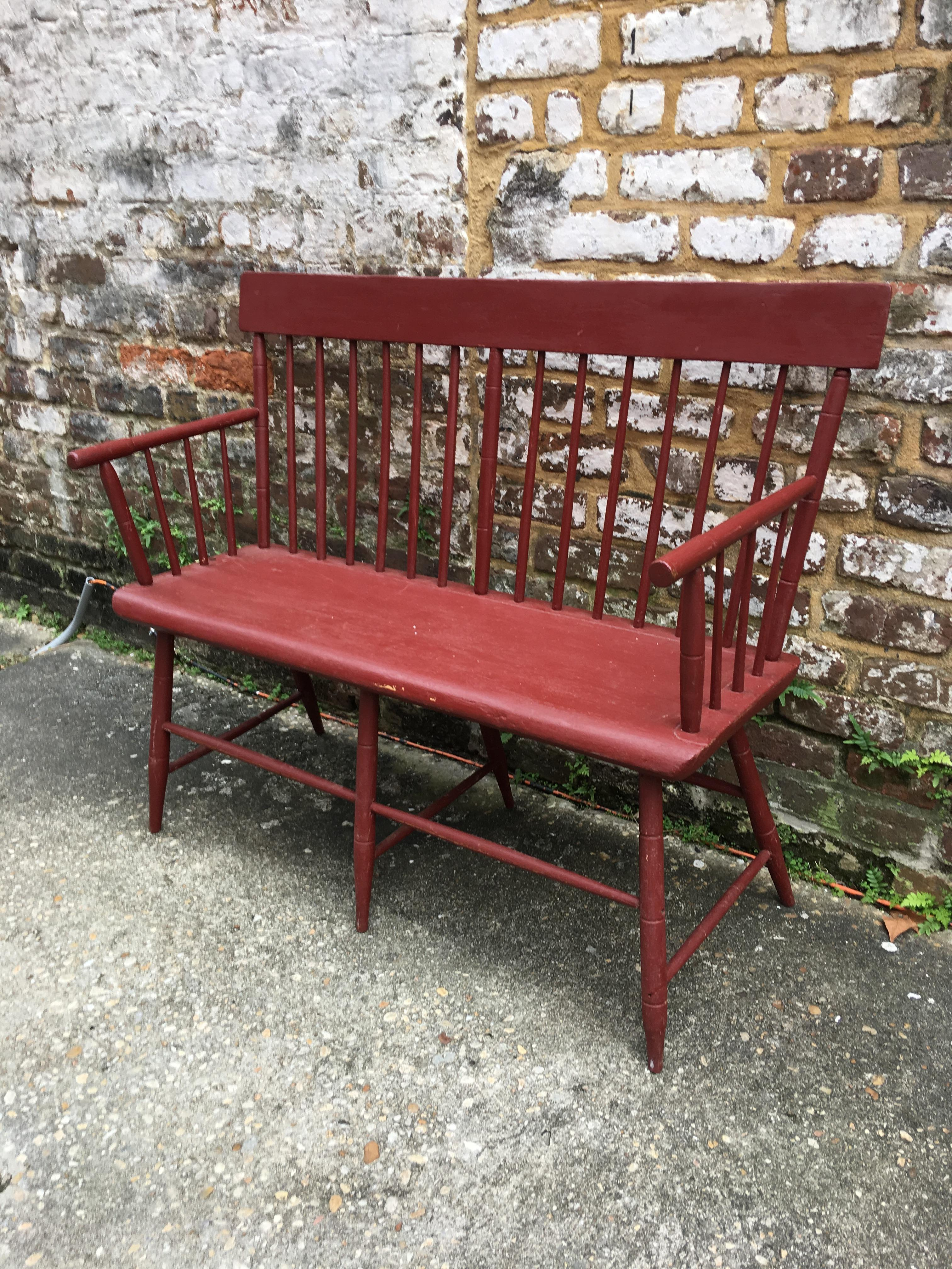 Awe Inspiring Small Painted Windsor Bench Circa 1830 Andrewgaddart Wooden Chair Designs For Living Room Andrewgaddartcom