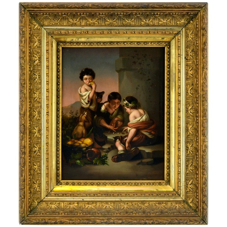 """Small Painting Titled """"Boys Playing Dice"""" after Bartolomé Esteban Murillo For Sale"""