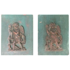 Small Pair of 19th-20th Century Carved Wooden Plaques with Putti