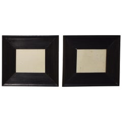 Small Pair of Black Ebonized Mirrors with Old Mirror Glass, circa 1880