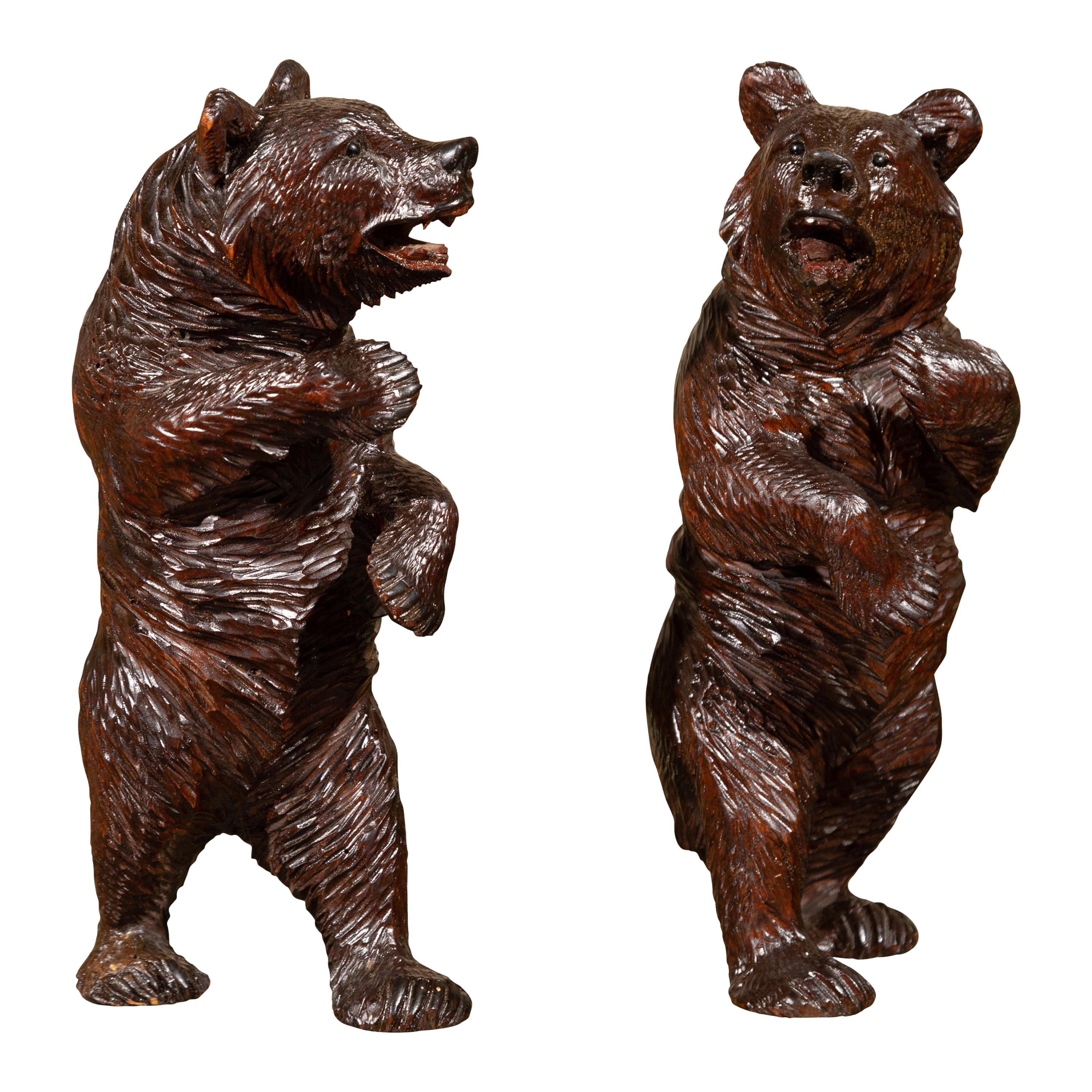 Small Pair of Black Forest Carved Wooden Bears in Standing Position, circa 1900