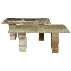 Small Pair of Cast Stone Garden Benches