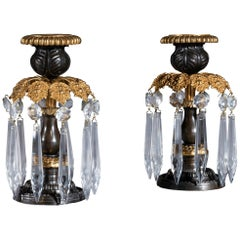 Small Pair of Early 19th Century Regency Period Gilt Brass Candlestick Lustres