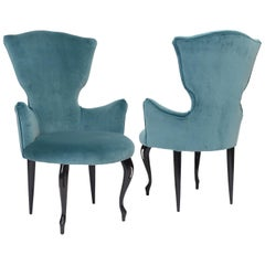 Small Pair of Italian 1950s Chairs in Blue Velvet