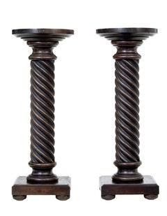 Small pair of late 19th Century mahogany barley twist columns