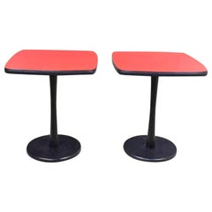 Small Pair of Red Laminate Squircle Pedestal Side Tables Mid-Century Modern