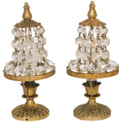 Small Pairs Bedside Lamps Maria Theresa Golden Bronze & Drops Swarovski Crystal