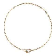 Small Pave Diamond Lock Necklace in 18k Yellow Gold