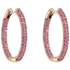 Small Pavé Pink Sapphire Hoop Earrings