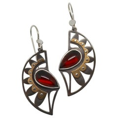 Metaalia Jewelry Small Peacock Strut Earrings in Garnet and Sterling Silver