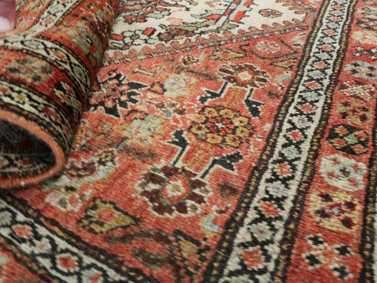 Small Persian Fereghan Folk Rug in Rust and Ivory For Sale 3