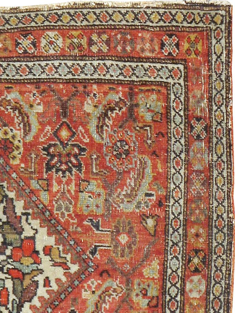 Rustic Small Persian Fereghan Folk Rug in Rust and Ivory For Sale