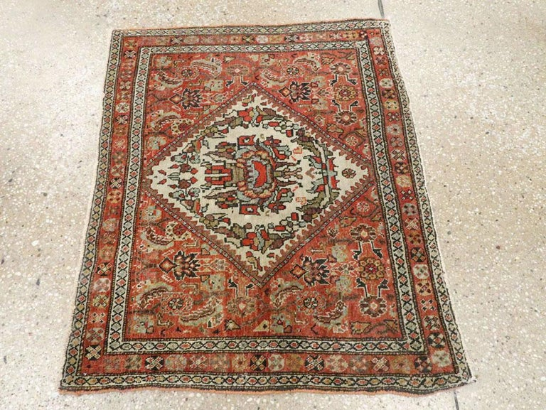 Hand-Knotted Small Persian Fereghan Folk Rug in Rust and Ivory For Sale